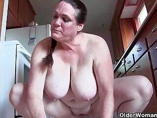 big tits-grandma-granny-kitchen-naked-tits
